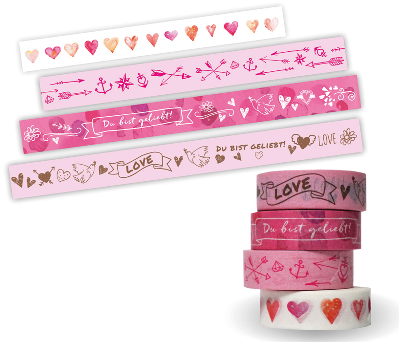 Washi Tapes Set, rosa: Du bist geliebt