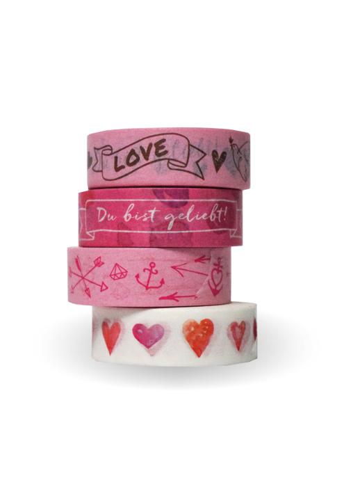 Washi Tapes Set, rosa: Du bist geliebt