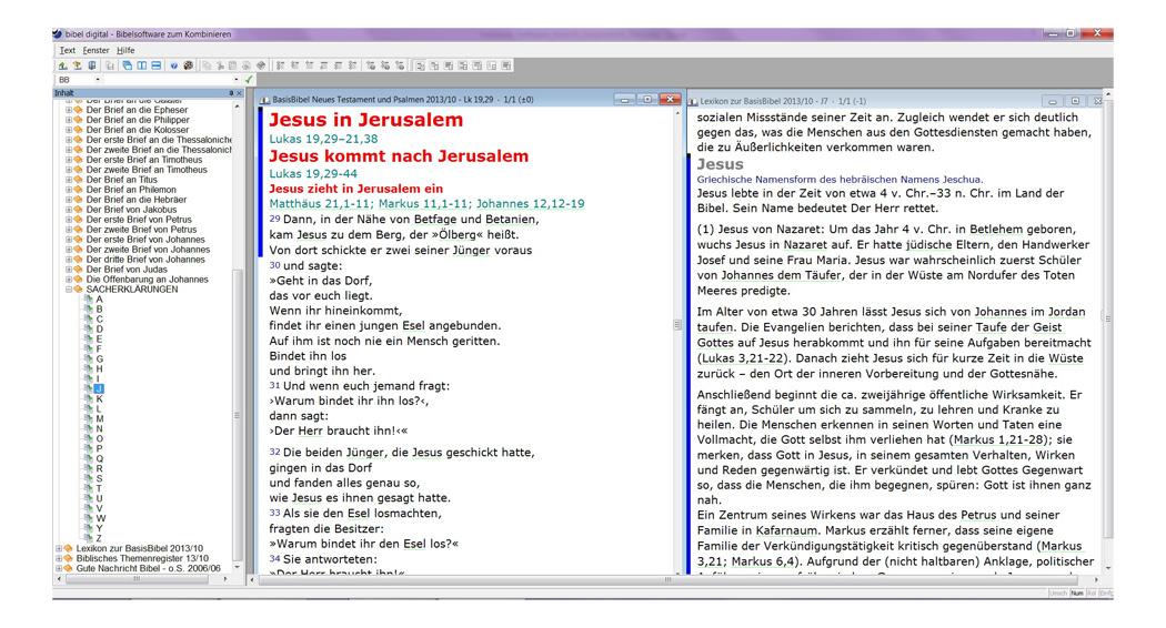 Parallele Ansicht von Bibeltext und Sacherklärung